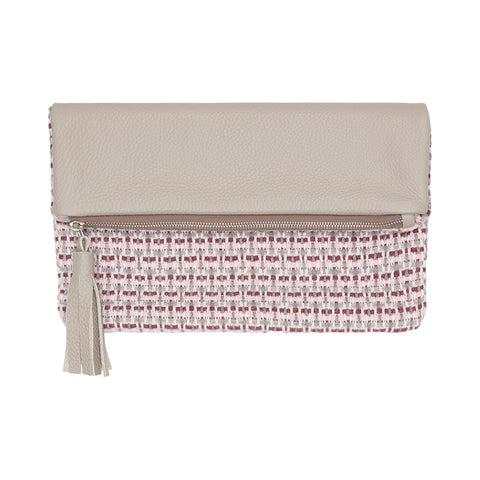 Foldover Woven & Leather Clutch Bag