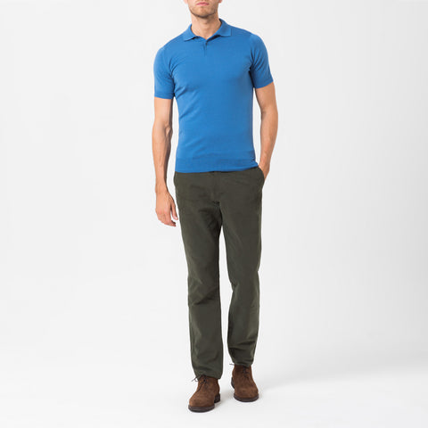 Blue Merino Polo Shirt