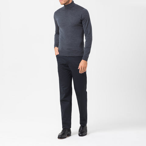 Charcoal merino roll neck jumper