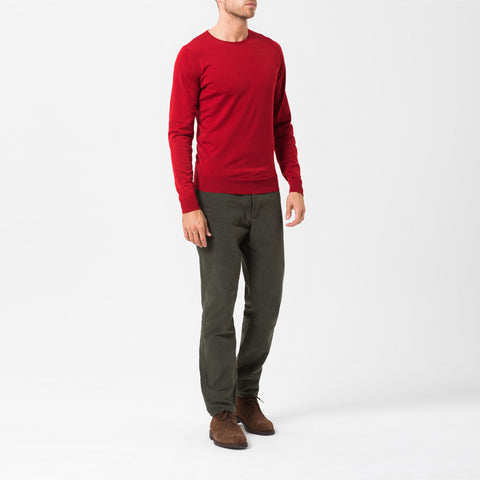 Red Crew Neck Merino Jumper