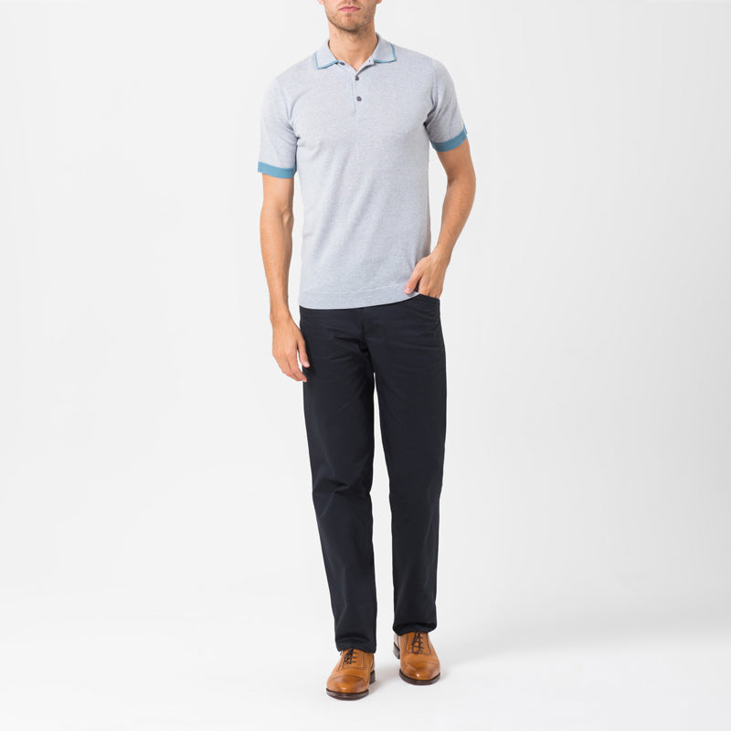 Grey merino polo shirt