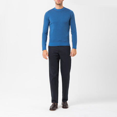 Blue And Indigo Merino Crew Neck