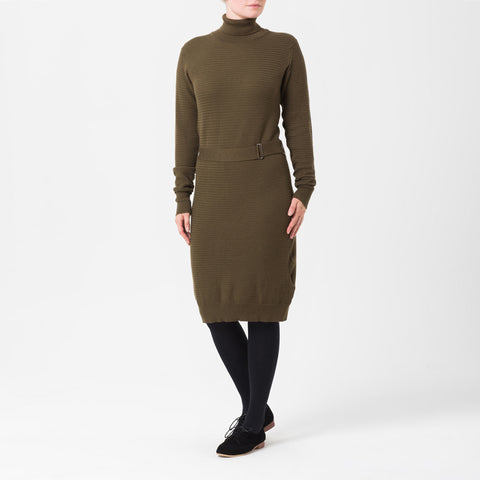 Green Long-Sleeved Midi Dress