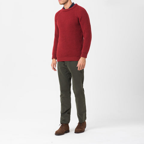 Red Fisherman Knit Jumper