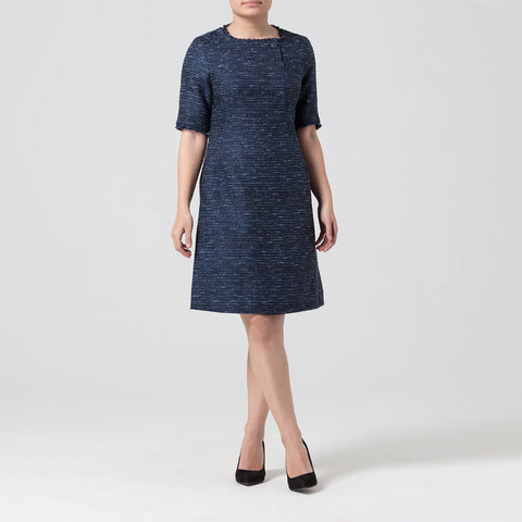 Petite Navy Boucle Button Dress