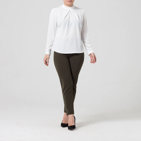 Petite White High Neck Blouse