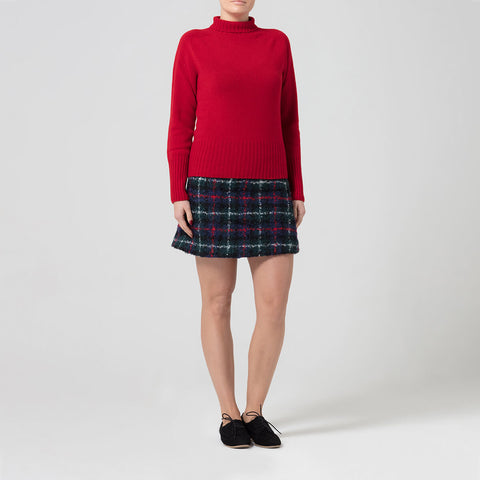 Red Lambswool Roll Neck Jumper