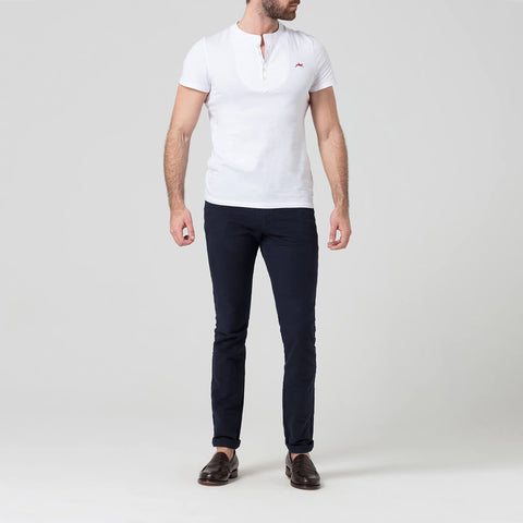 White Grandad Collar Fitted T-Shirt
