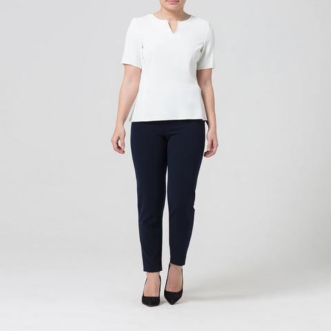 Petite White Notch Neck Top