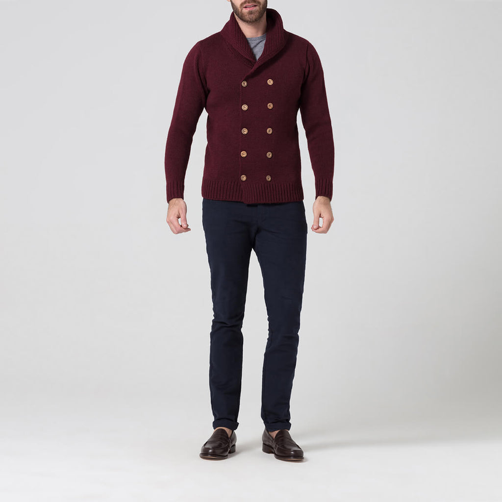 Burgundy double breasted wool jumper