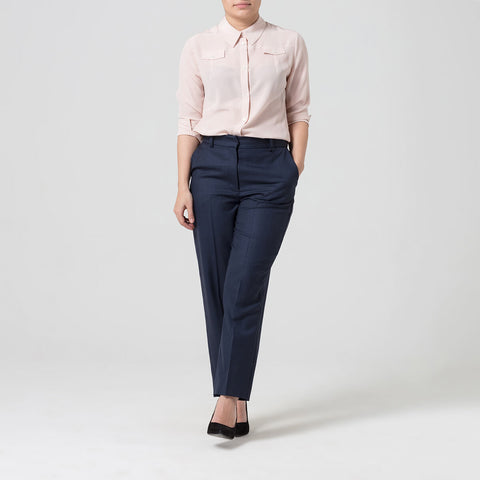 Petite Pink Silk Pocket Shirt