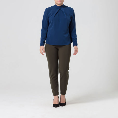 Petite Blue High Neck Blouse