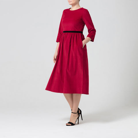 Red Corduroy Dress With Tie