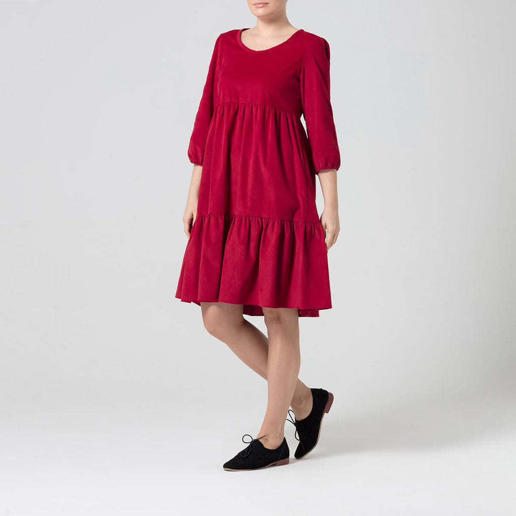 Red Tiered Corduroy Dress