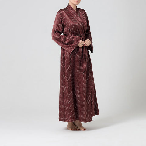 Chocolate and cream silk dressing gown