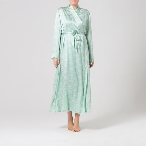 Mint printed silk dressing gown