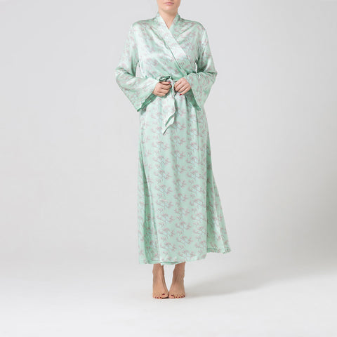 Green printed silk dressing gown