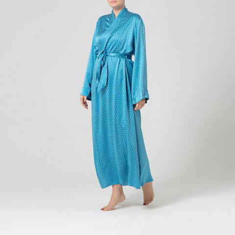 Polka dot silk dressing gown