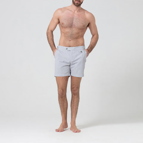 Grey & White Striped Swim Shorts