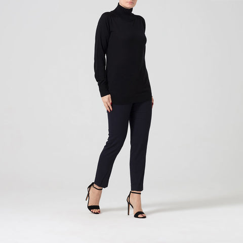 Black Cashmere Roll Neck With Zip Detail