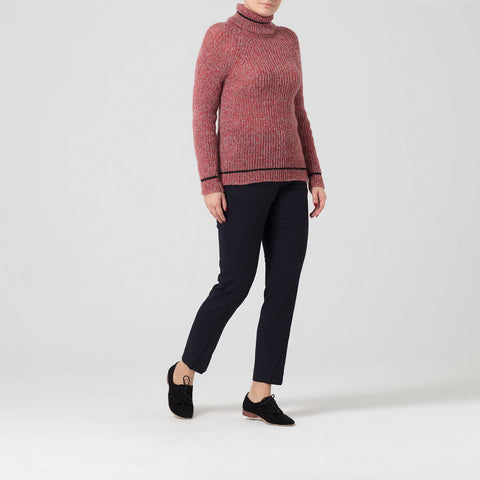 Red Roll Neck Jumper With Contrast Stripe Detail