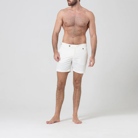 White Tailored Swim Shorts