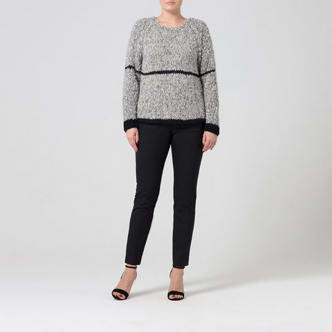 Grey Alpaca Wool Jumper With Contrast Stripe Detail