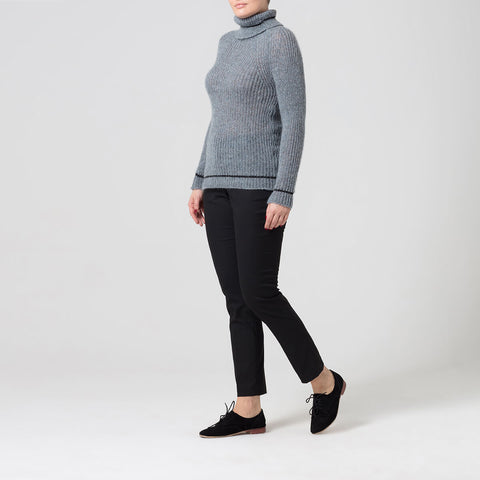 Blue Roll Neck Jumper With Contrast Stripe Detail
