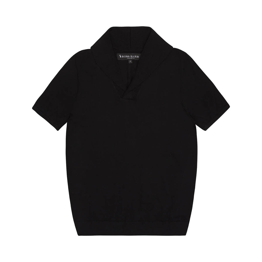 Black Short-Sleeved Shawl Collar Merino Jumper