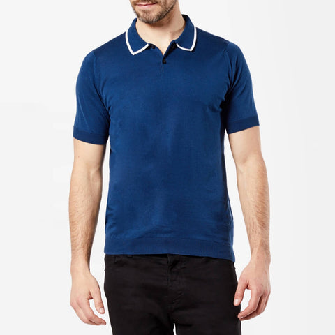 Indigo/White Tipped Sea Island Cotton Polo Shirt