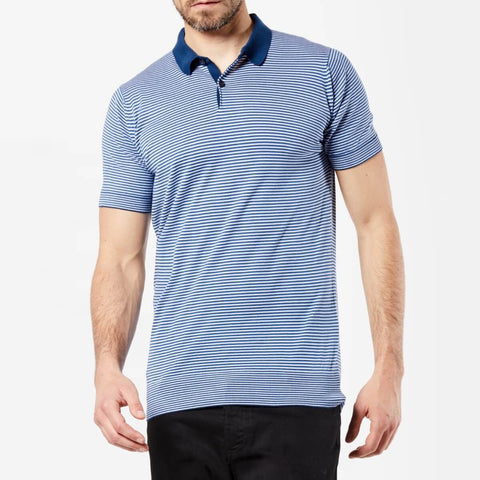Striped Sea Island Cotton Polo Shirt