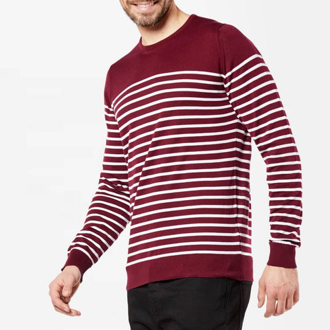 Striped Crew Neck Sea Island Cotton Jumper