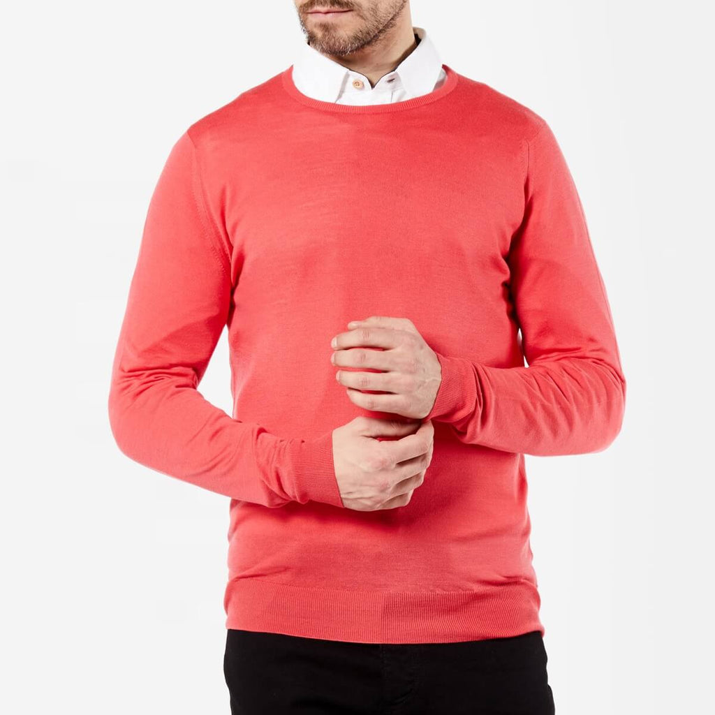 Light Red Crew Neck Merino Jumper