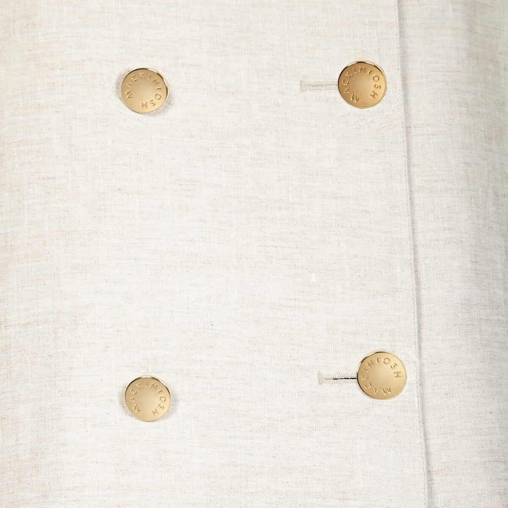 12b1234770 Off-White Linen Overcoat With Gold Buttons