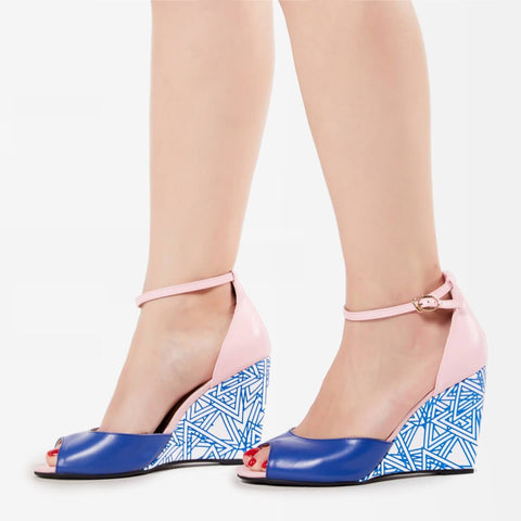 Patterned Open Toe Wedges