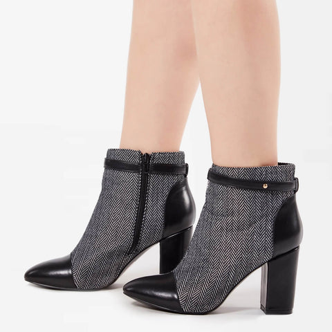 Grey Tweed Ankle Boots