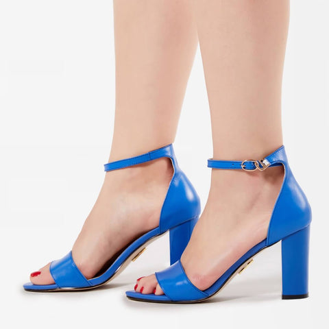 Blue Open Toe Heels