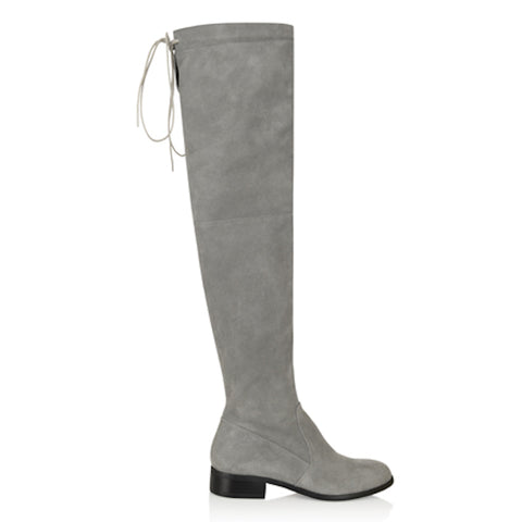 Grey Knee-High Suede Boots