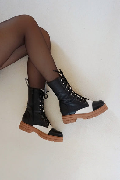 BETTINA BLACK/CREAM LEATHER COMBAT BOOTS