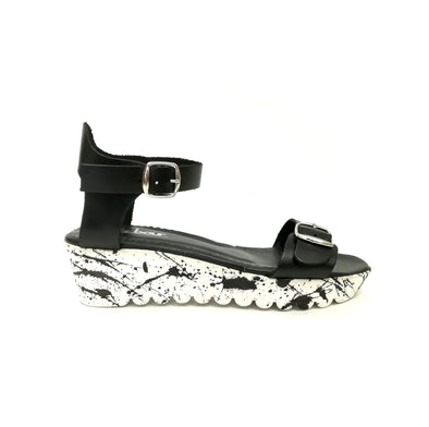 ARTY BLACK RUBBER WEDGES