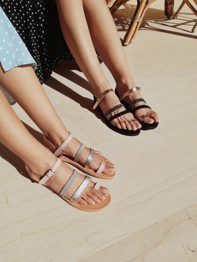 CORDS PINK AND GREY FLAT SANDALS