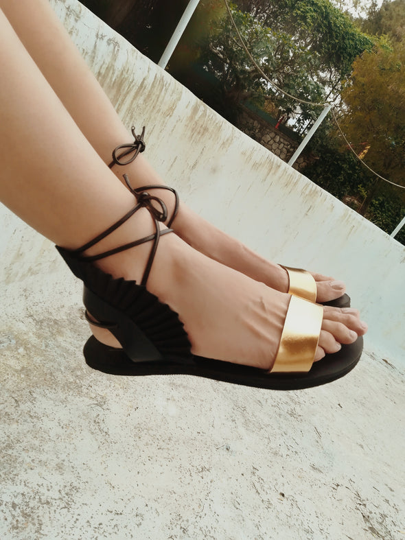 FRIDA BLACK/GOLD TIE-UP SANDALS
