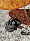 THONG SATIN BLACK FLAT SANDALS