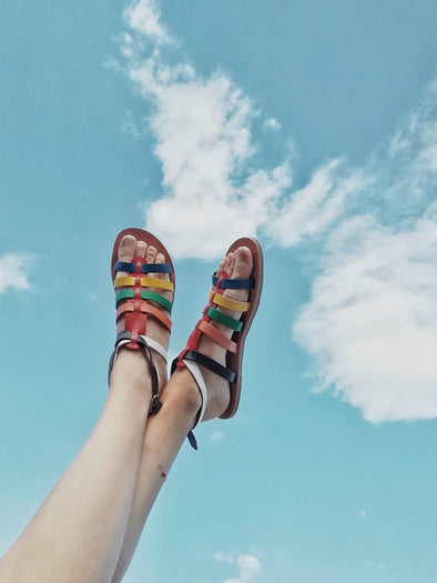 ARIADNE MULTICOLOR GLADIATOR FLAT SANDALS