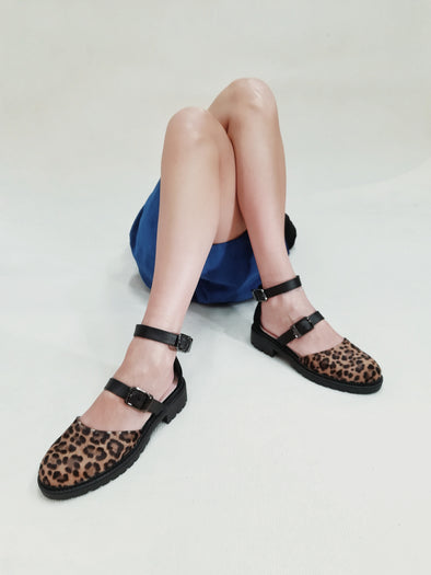 ELLIE LEOPARD CHUNKY RUBBER FLATS