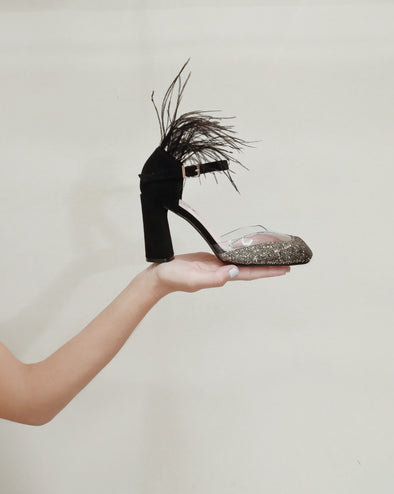 BELLA BLACK & GOLD FEATHER HEELS