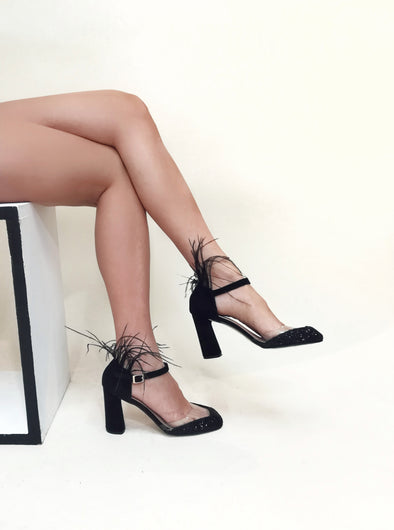 BELLA BLACK FEATHER HEELS