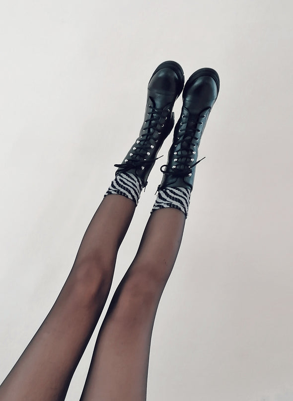 BETTINA BLACK LEATHER COMBAT BOOTS