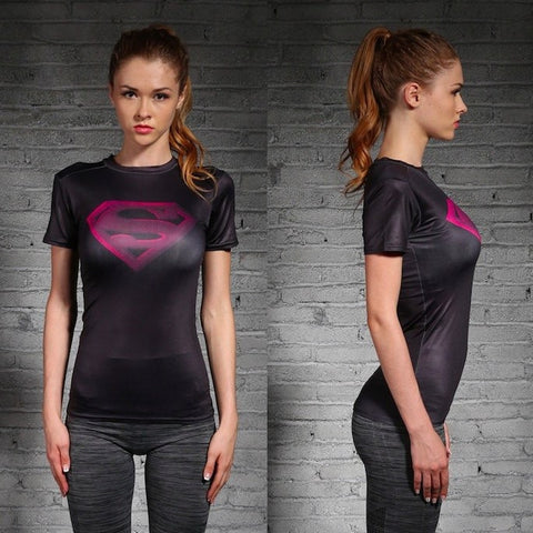 Womens Compression Shirt - Superman