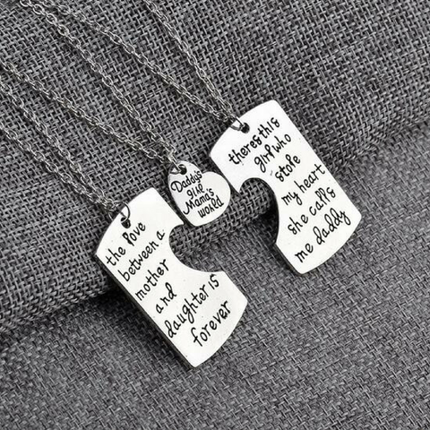 Daddy's Girl Mama's World Pendant Necklace - Father Mother Daughter Necklace Set